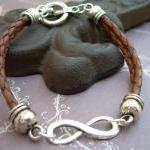 Braided Leather Bracelet, Infinity ..