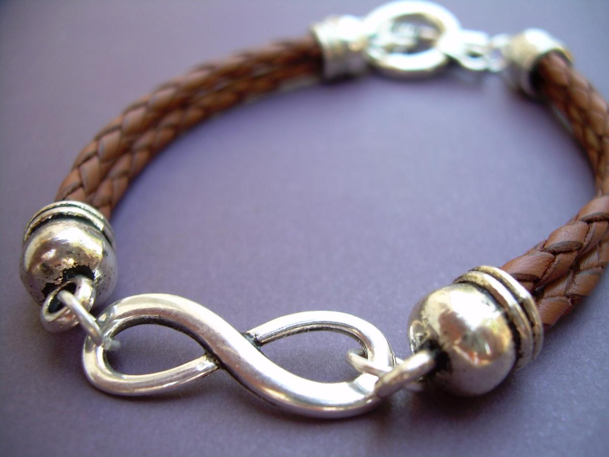 Braided Leather Bracelet, Infinity Bracelet, Men, Women , Unisex, Saddle Brown, Braided, Mens Bracelet, Womens Bracelet