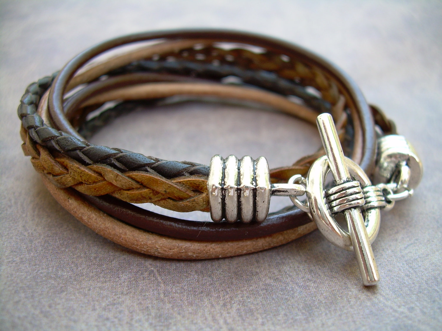 Mens Leather Bracelet Four Strand Double Wrap Urban Survival Gear