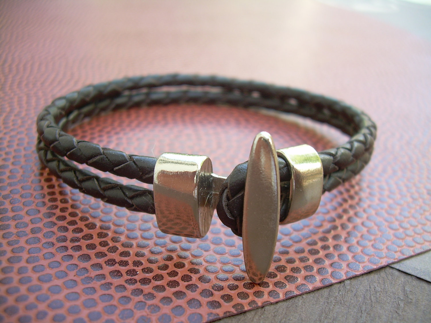 single pin style silver mens rugged leather wrap designer bracelet and masculine man