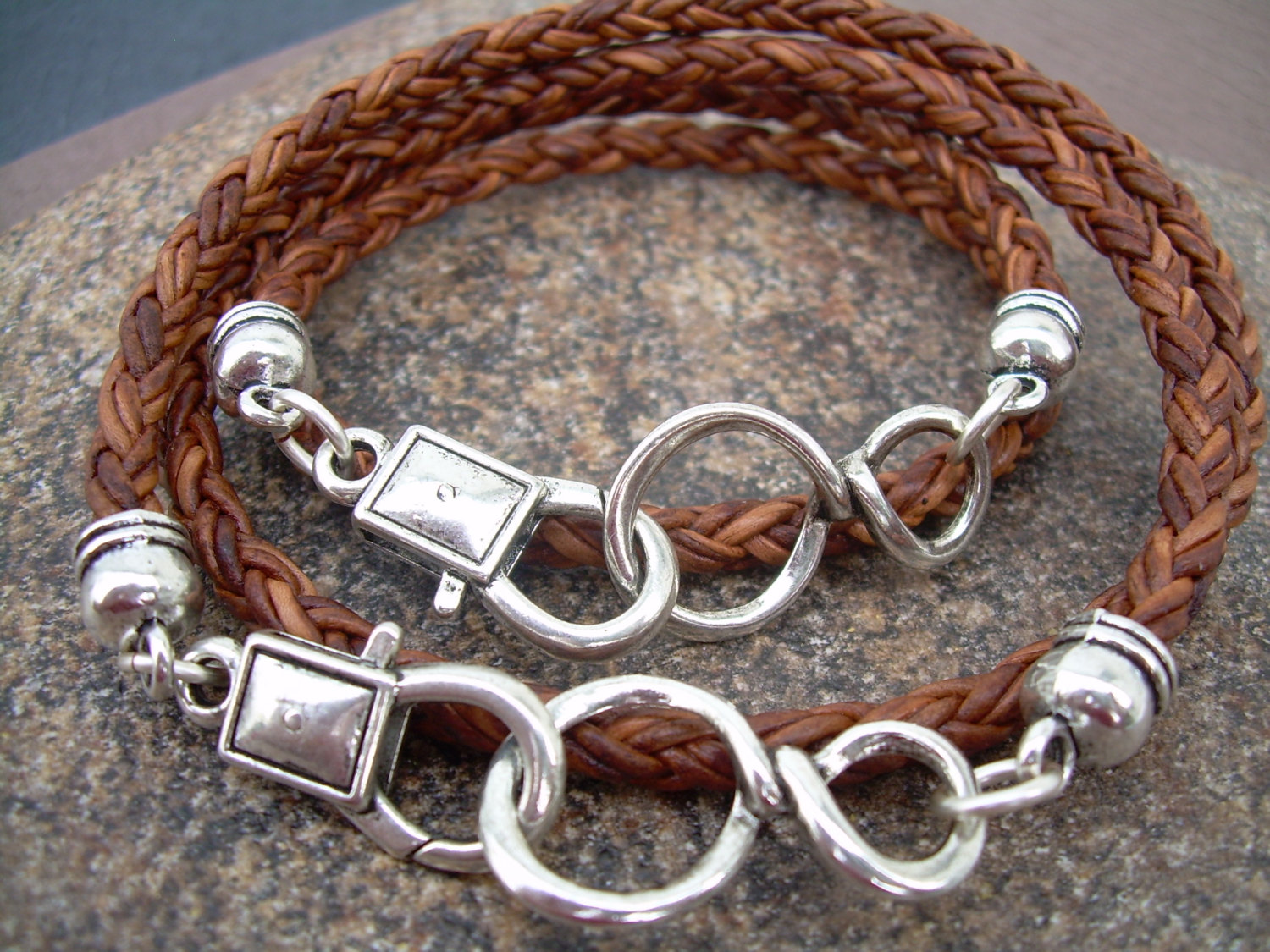 His And Hers Set Of Infinity Bracelets Leather Bracelet Mens Womens Natural Light Brown Braided
