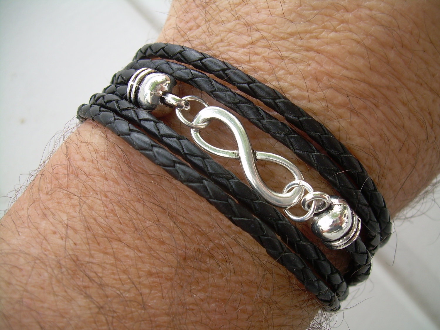 Black Braided Leather Bracelet Infinity Triple Wrap Braid Mens Womens Jewelry