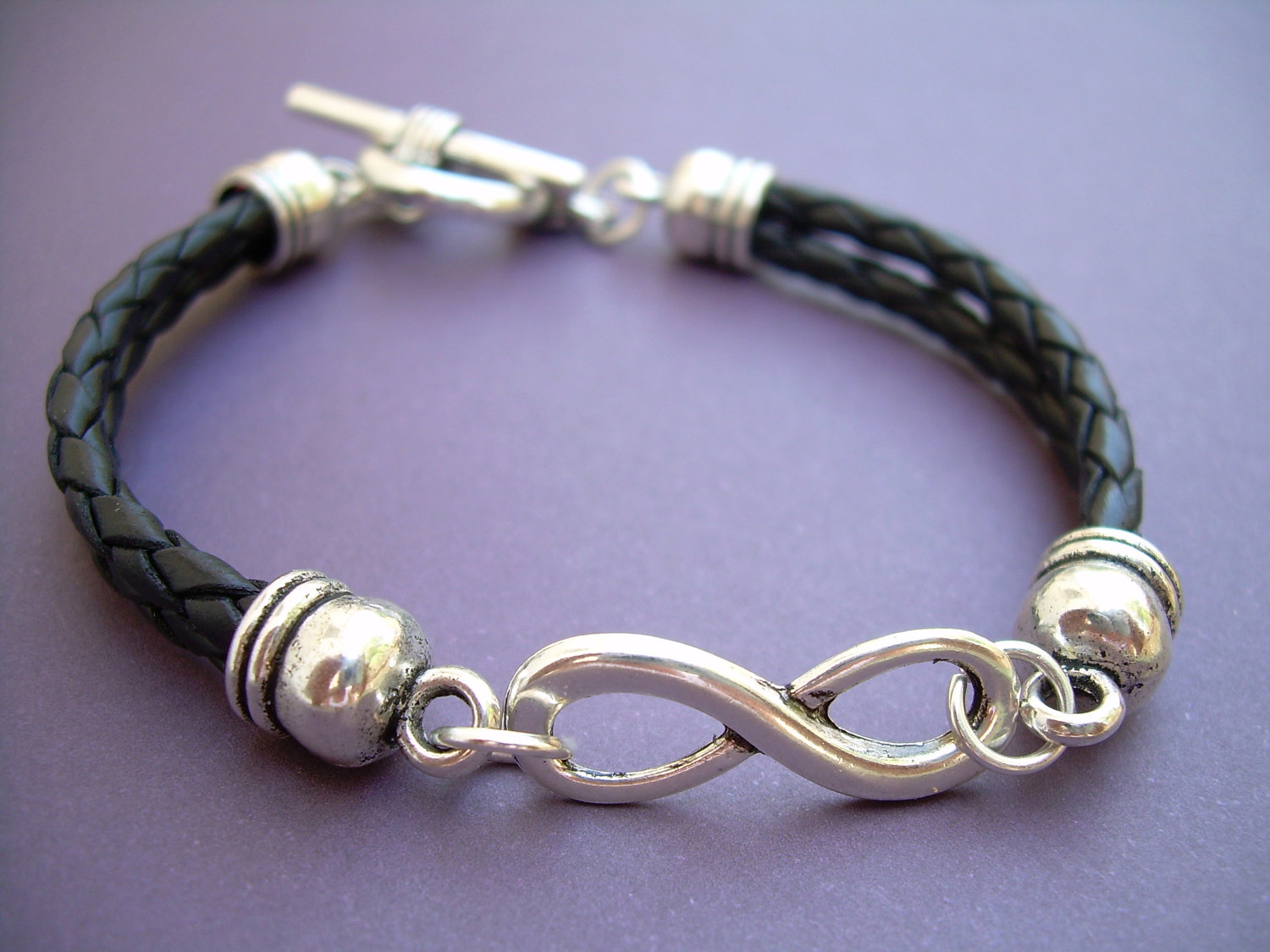 Leather Bracelet Infinity Black Braided Uni Mens Womens Jewelry