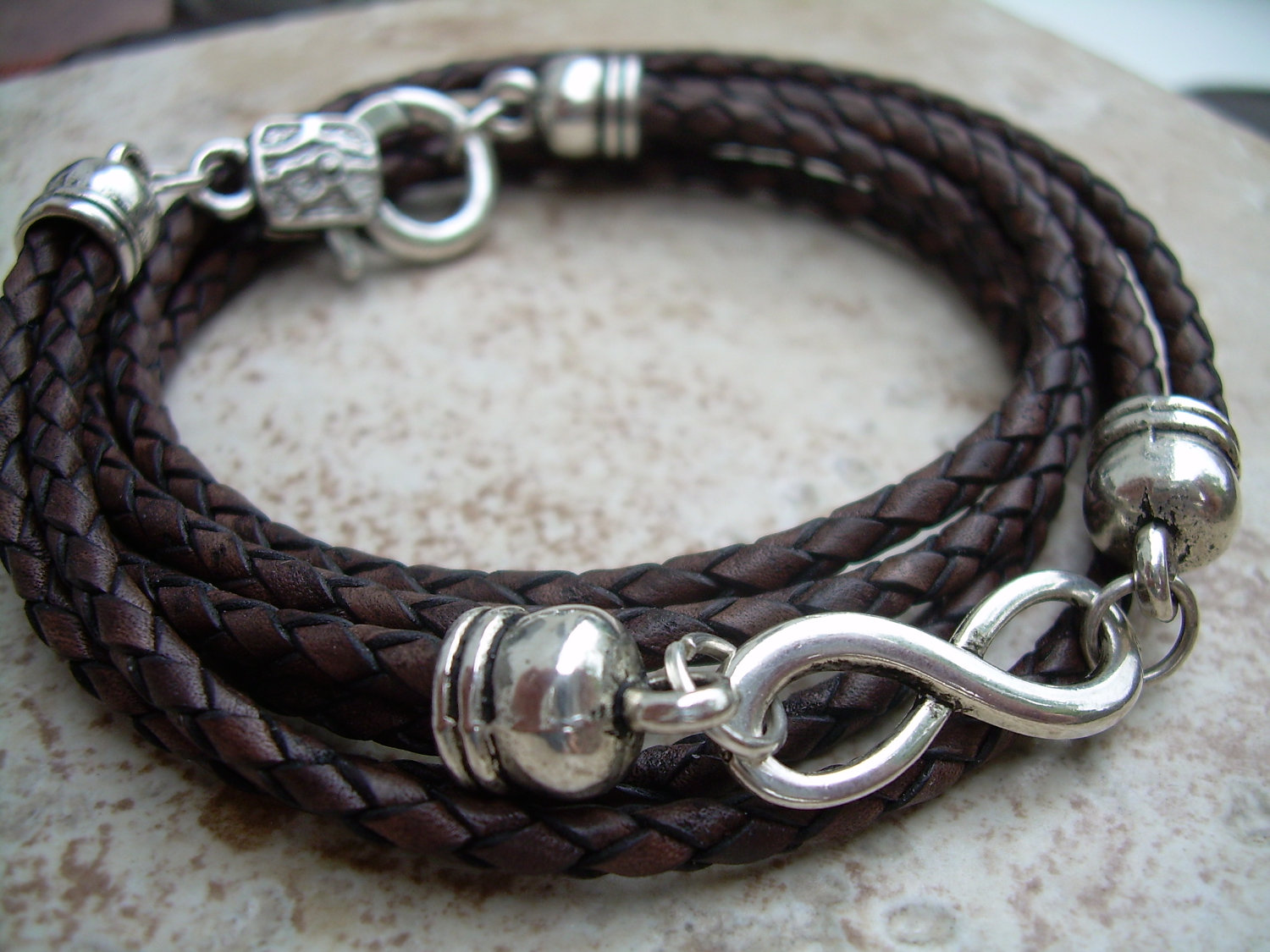 Leather Bracelet Infinity Triple Wrap Antique Brown Braided Mens Womens Jewelry
