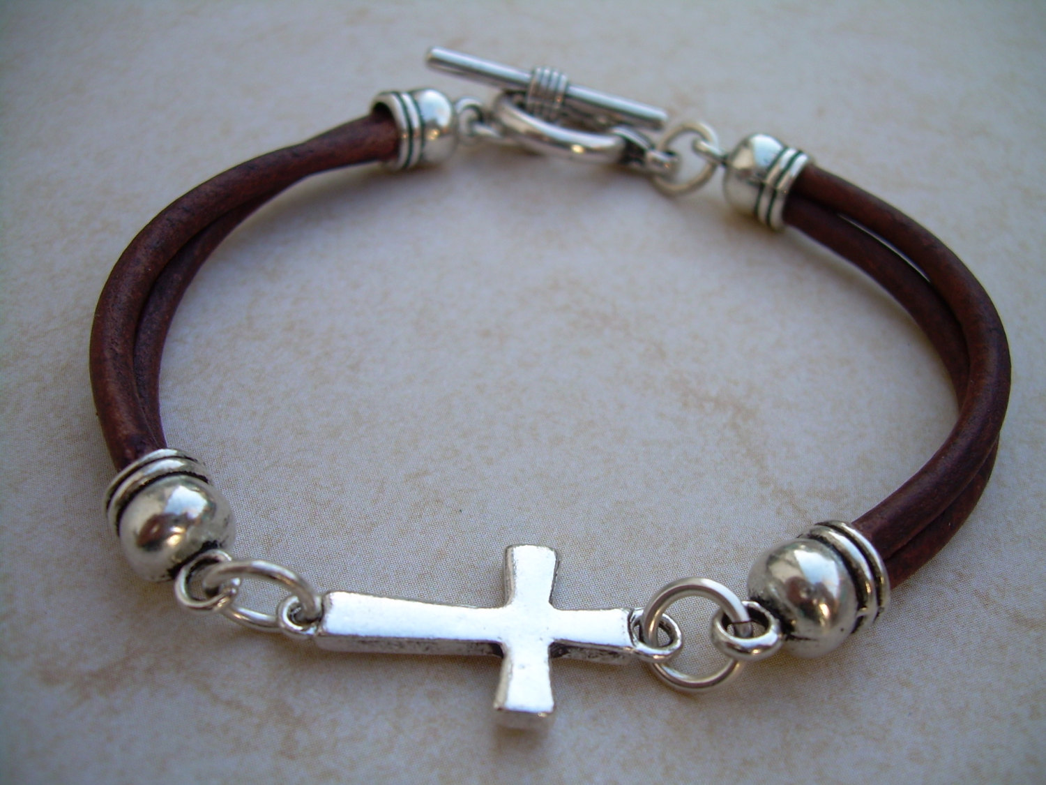 Leather Bracelet Cross Religious Gift Mens Jewelry Womens