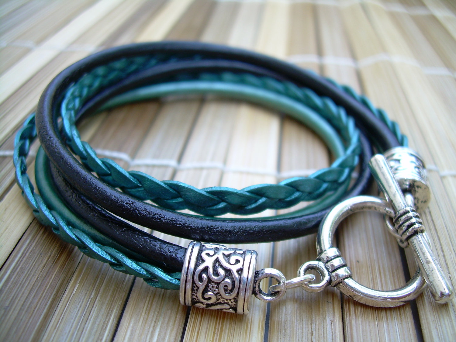 Womens Leather Bracelet Toggle Closure Metallic Teal And Black Double Wrap Jewelry